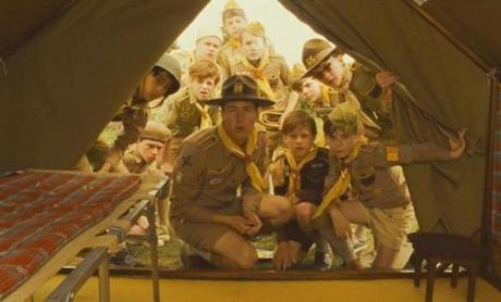 "Edward Norton (center) plays a hapless scoutmaster who goes on a search when one of his troops goes missing in ""Moonrise Kingdom.''"